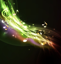 Shiny flow music note background vector image