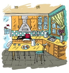 Kitchen colored sketch vector