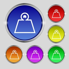 Weight icon sign round symbol on bright colourful vector
