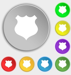 Shield icon sign symbols on eight flat buttons vector