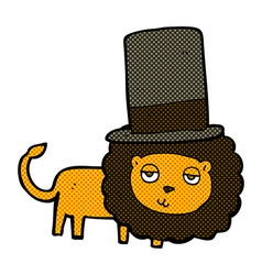 Comic cartoon lion in top hat vector