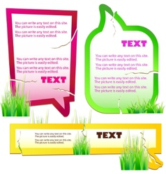 Colorful grass speech stickers vector