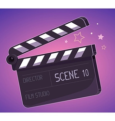 Big clapper board on purple background vector
