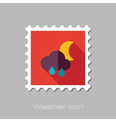 Rain cloud moon flat stamp meteorology weather vector