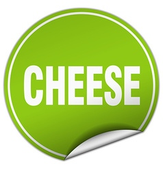 Cheese round green sticker isolated on white vector
