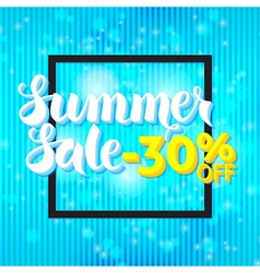 Summer sale lettering over blue abstract vector