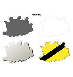 Antwerp outline map set - flemish version vector