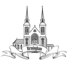 birmingham city landmark label travel england uk vector image vector image