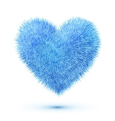 Blue fluffy heart vector