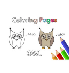 Cartoon owl coloring book vector