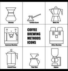 Coffee brewing methods thin line icon set french vector
