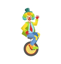 Colorful friendly clown with rainbow wig in vector