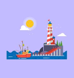 Cool flat design fishing boat seaway vector