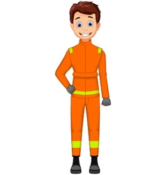 Cute firefighters cartoon posing vector