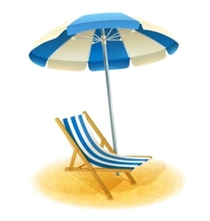 Deck Chair With Umbrella vector image