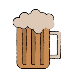 Drawing glass beer mug foam cold drink vector