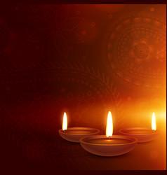 Ethnic paisley background with three diya diwali vector