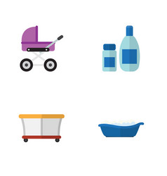 Flat infant set of bathtub playground stroller vector
