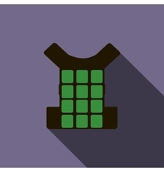 Green bulletproof vest icon flat style vector