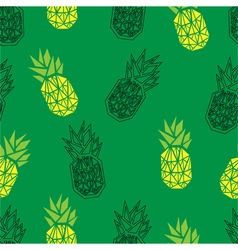 Green geometric pineapple seamless pattern vector image vector image