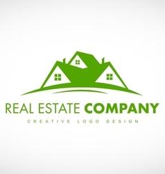Green real estate house logo icon design vector