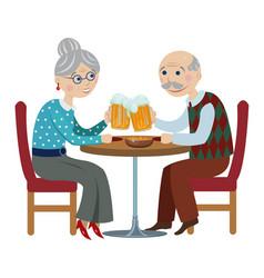 happy grandparents drink beer vector image