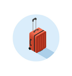 Isometric of red suitcase vector