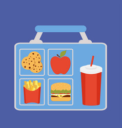Lunchbox with apple vector