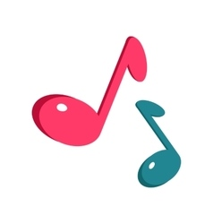 Music Sign Blue and Pink Notes Isolated on White vector image