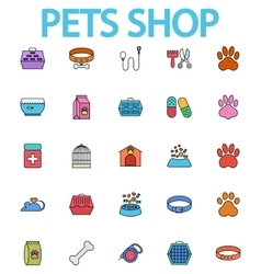 Pets shop icons vector image vector image