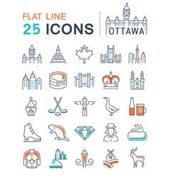 Set Flat Line Icons Ottawa vector image vector image