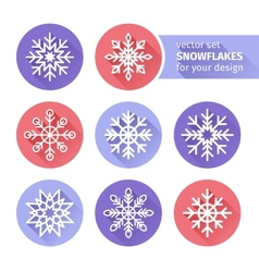 set of icons snowflakes flat design 1 vector image vector image