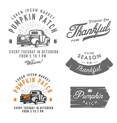 Set of vintage thanksgiving day design elements vector