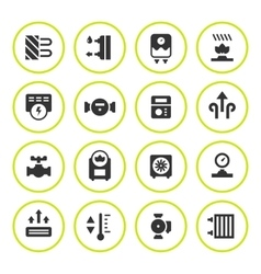 Set round icons of heating vector