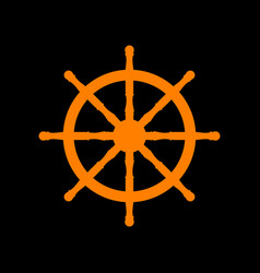 Ship wheel sign orange icon on black background vector