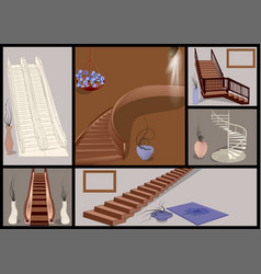 Stairs and vases set vector