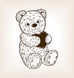 teddy bear engraving vector image