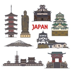 Travel landmarks of Japan colorful thin line icon vector image