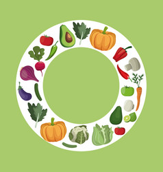 Vegetables fresh ingredients diet vector