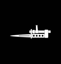White icon on black background knife bayonet on vector