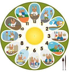 Clock rabbit schoolchild vector