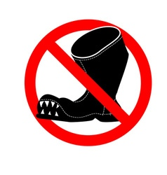 Stop broken shoes leaky shoes ban red mark is vector