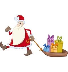 Santa claus with gifts on sledge vector