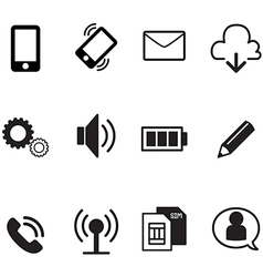 Smartphone basic app icons set vector