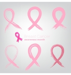 Set of Breast Cancer Awareness Month Signs from vector image