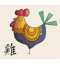 Chinese new year 2017 doodle art rooster design vector image