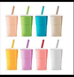 Plastic color glass tea juice vector