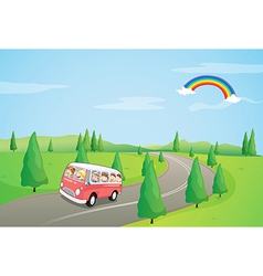 A bus with kids running along the curve road vector
