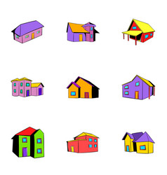 house icons set cartoon style vector image