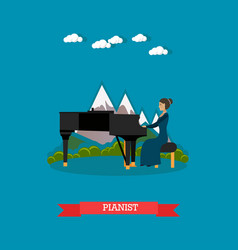 Pianist playing music in flat vector
